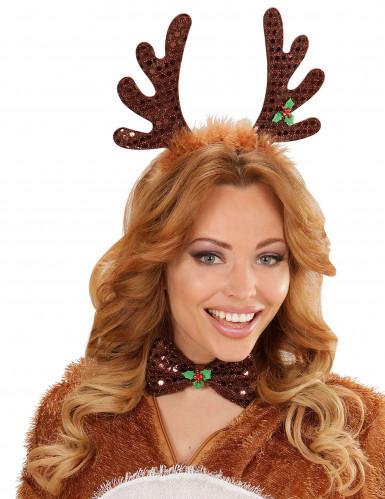Kit cerchietto e papillon renna Natale