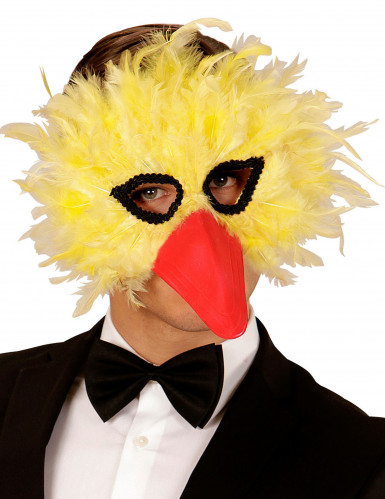 Maschera da uccello con piume gialle