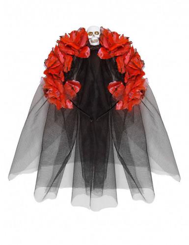 Velo fiori rossi teschio-1