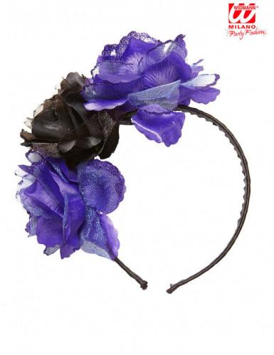 Cerchietto fiori viola neri-1