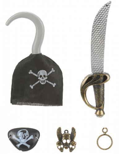 Kit Pirata - sciabola, uncino, distintivo, occhiello e orecchino da bambino
