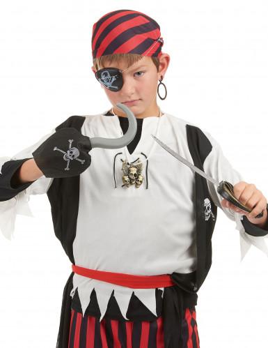 Kit Pirata - sciabola, uncino, distintivo, occhiello e orecchino da bambino -1