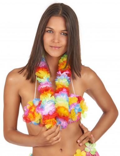 Collana hawaiana con fiori di stoffa per adulto-1