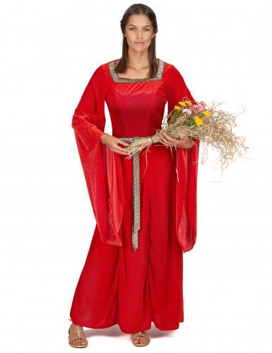 Costume medievale donna di colore rosso