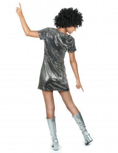 Costume disco argentato anni '70 per donna-2
