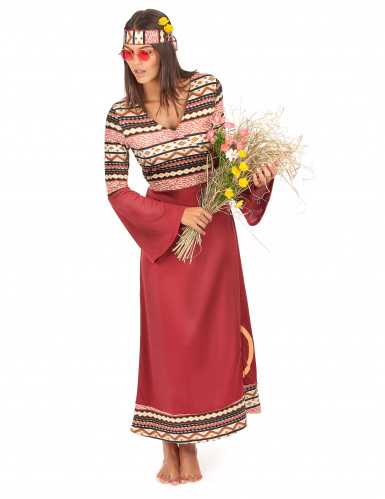 Costume da hippy donna bordeaux