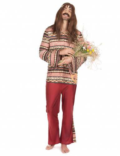 Costume da hippie per uomo bordeaux