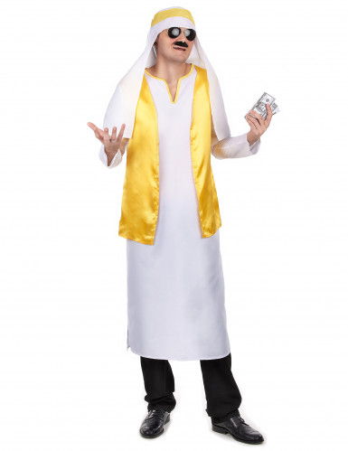 Costume Sceicco Arabo bianco e giallo uomo