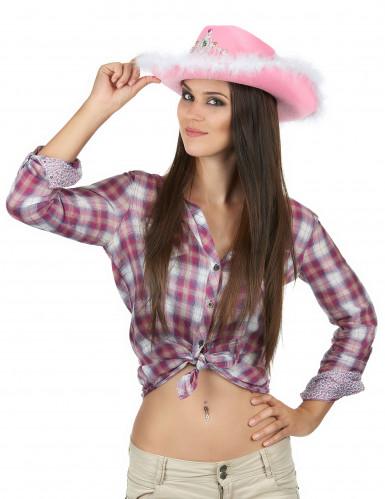 Cappello Cowgirl rosa per donna-1
