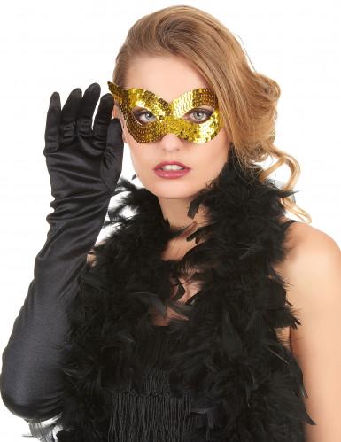 Maschera veneziana paillettes dorate adulto