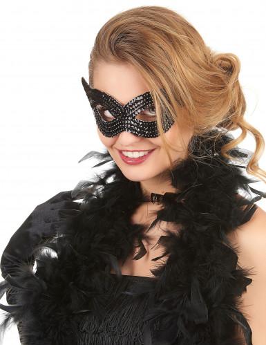 Maschera veneziana paillettes nere adulto
