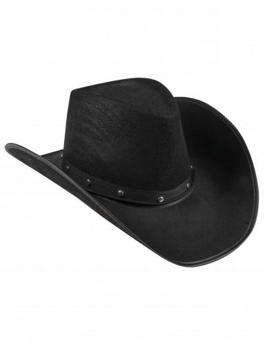 Cappello Cowboy nero con borchie per adulto