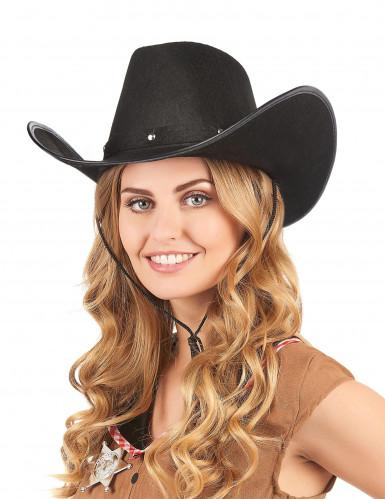 Cappello Cowboy nero con borchie per adulto-1