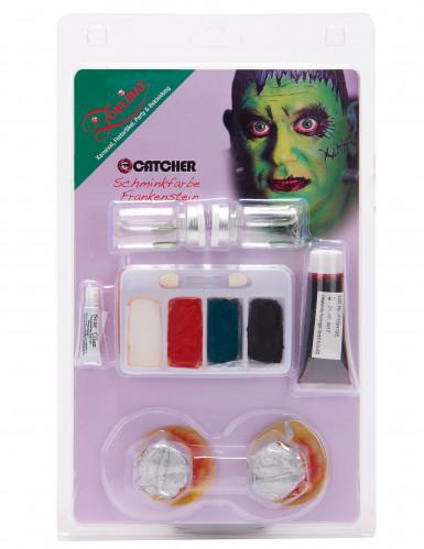 Kit make-up mostro verde con lenti adulto-1