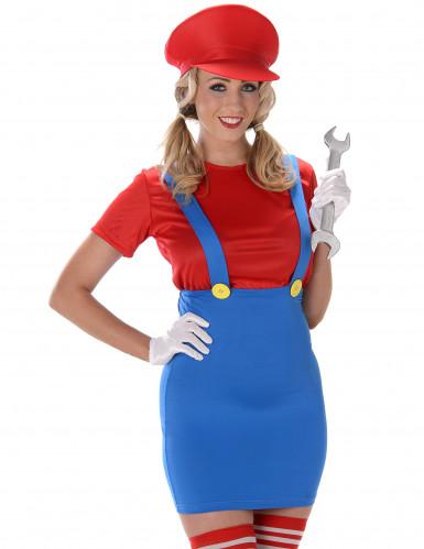 Costume da idraulico rosso da donna-1