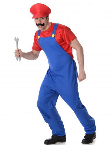 Costume da idraulico blu e rosso per adulto