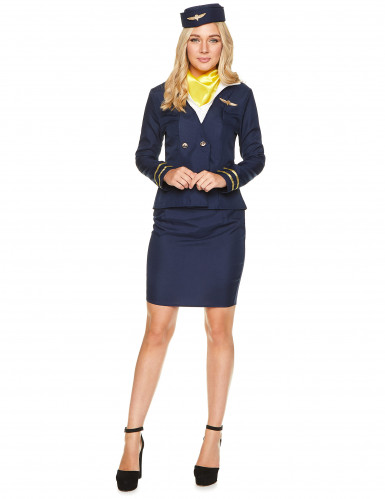 Costume da hostess di volo blu per adulto-1