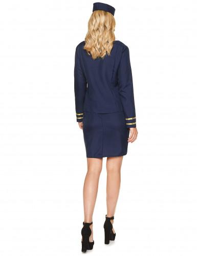 Costume da hostess di volo blu per adulto-2