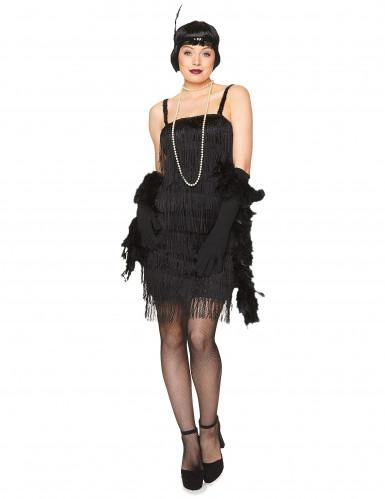 Costume charleston nero con frange per donna-1