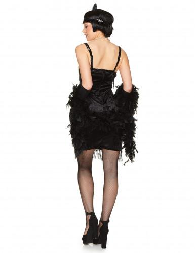 Costume charleston nero con frange per donna-2