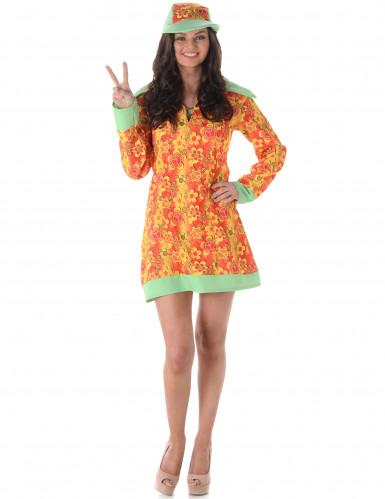Costume hippie arancione con fiori per donna