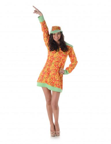Costume hippie arancione con fiori per donna-1