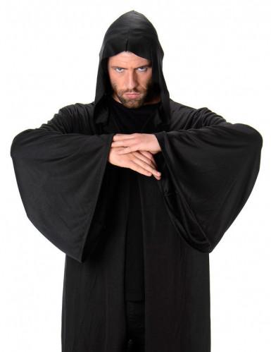 Mantello lungo di colore nero con cappuccio-1