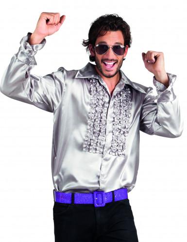 Camicia disco argentata da uomo
