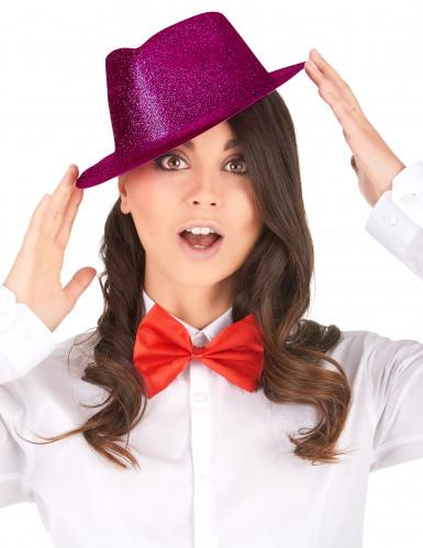 Cappello borsalino rosa con brillantini per adulto-1