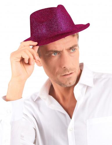Cappello borsalino rosa con brillantini per adulto-2