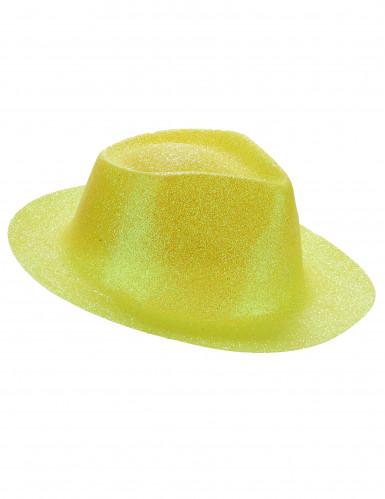 Cappello giallo con brillantini per adulto