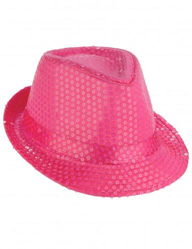 Cappello borsalino paillettato rosa fluo adulto