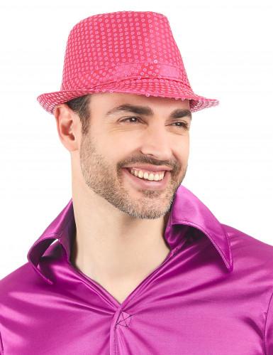 Cappello borsalino paillettato rosa fluo adulto-1