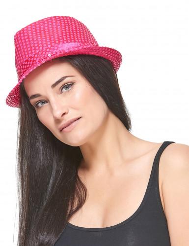 Cappello borsalino paillettato rosa fluo adulto-2