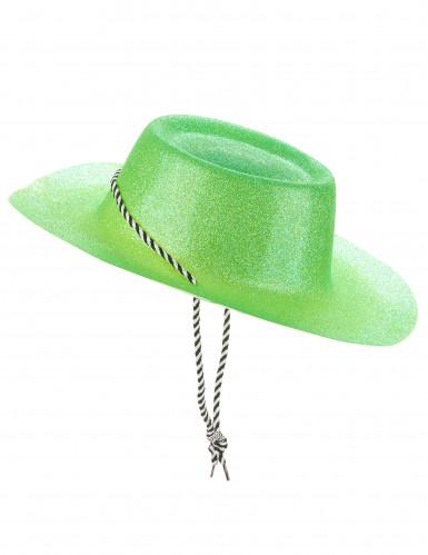Cappello da cowgirl verde con brillantini per donna