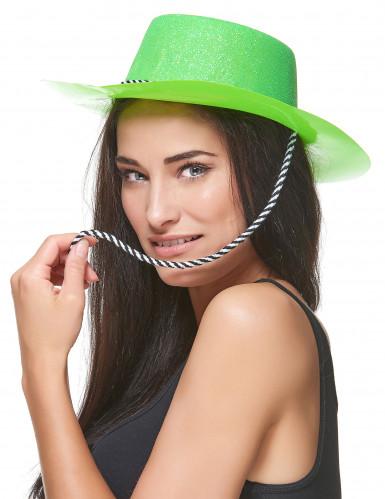 Cappello da cowgirl verde con brillantini per donna-1