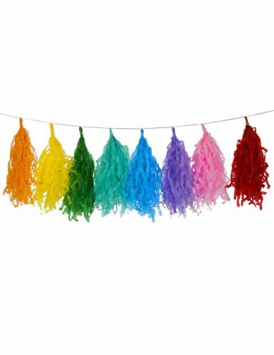 Ghirlanda nappe 16 pompom multicolore