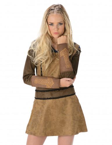 Costume da vichingo marrone da donna-1