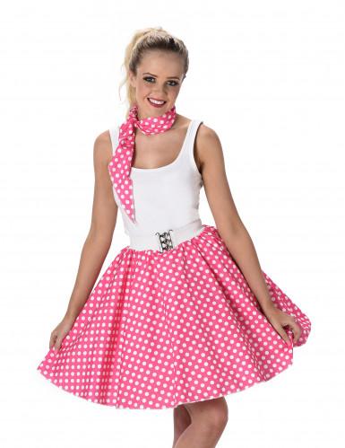Costume Anni '50 rosa a pois per donna-1