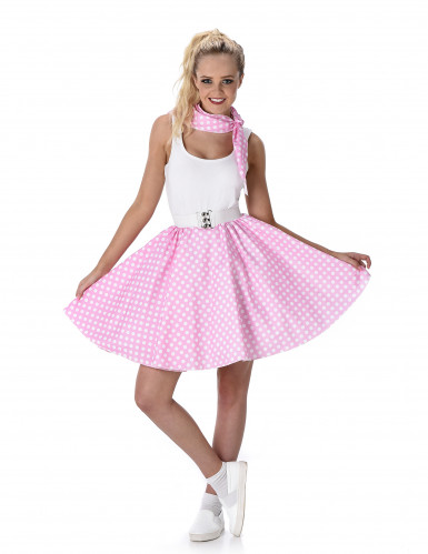 Costume rosa a pois anni 50 donna