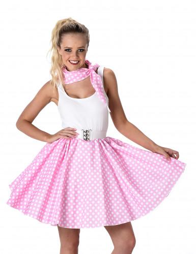 Costume rosa a pois anni 50 donna-1