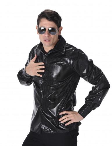Camicia disco nera da uomo con paillettes-1