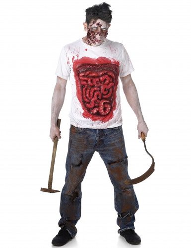 Costume zombie con interiora in latex per uomo halloween