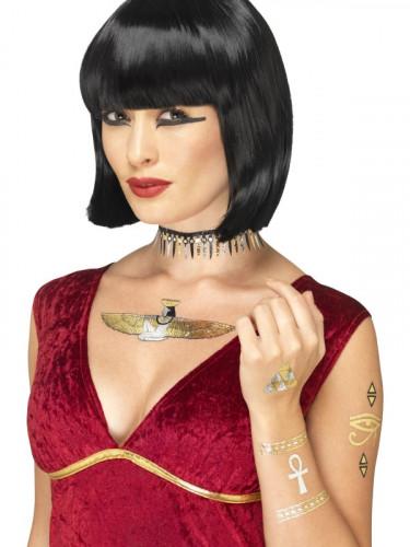 Kit tatuaggi temporanei egiziani metallizzati per adulto