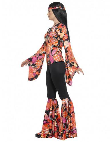 Costume hippie nero e multicolore per donna-1