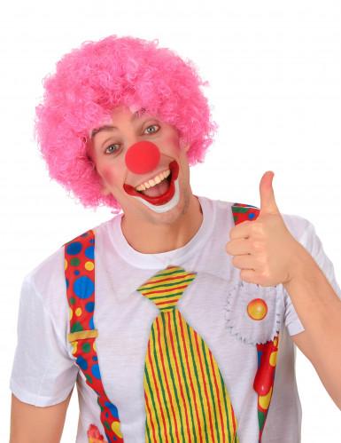 Parrucca afro/clown rosa standard per adulto-1