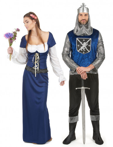 Costume coppia medievale blu dulto