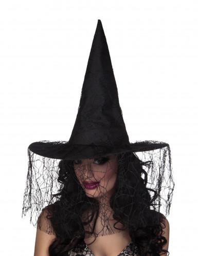 Cappello strega con velo ragnatela Halloween
