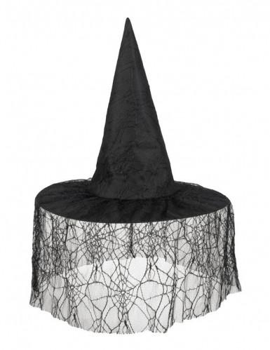 Cappello strega con velo ragnatela Halloween-1