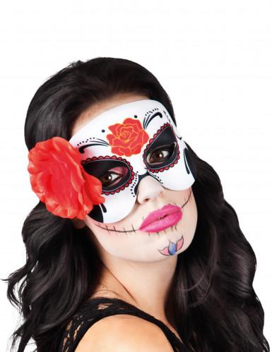 Maschera con rosa rossa Dia de los muertos